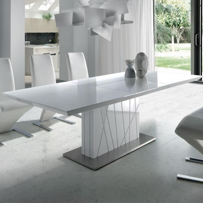 Table à manger extensible blanc laqué design ELODIE