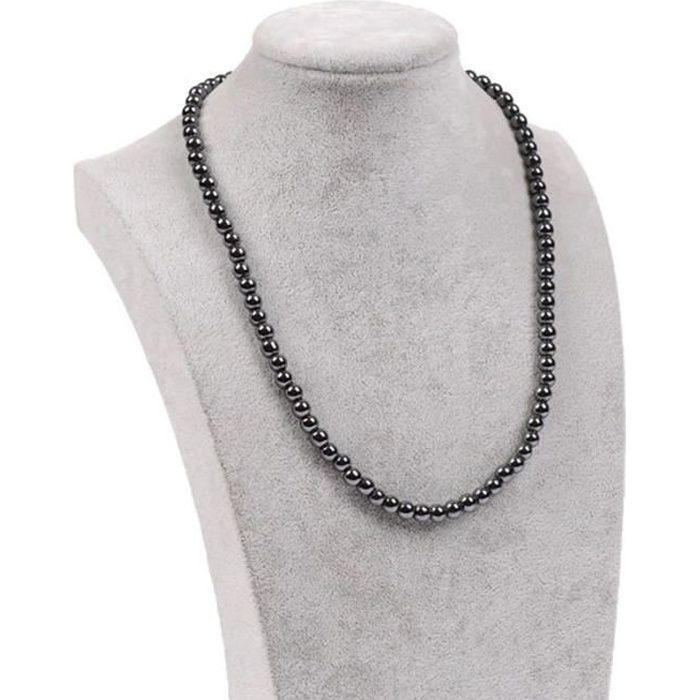 Collier hématites perles noires