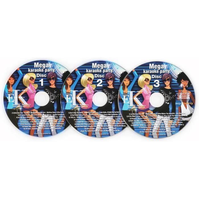 AUNA KS3 - Set de CD de karaoké, pour Les lecteurs karaoké compatibles avec Les CD+G, 3 CDs[149]