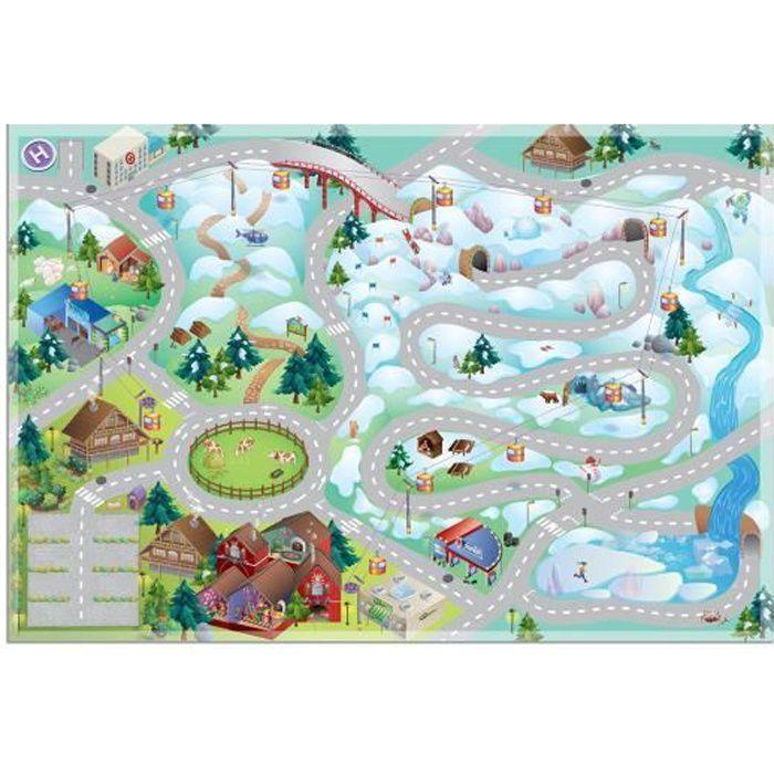 Tapis enfant jeu circuit CONNECTE MONTAGNE multicolore 100x150, par House Of Kids, Tapis pour enfant