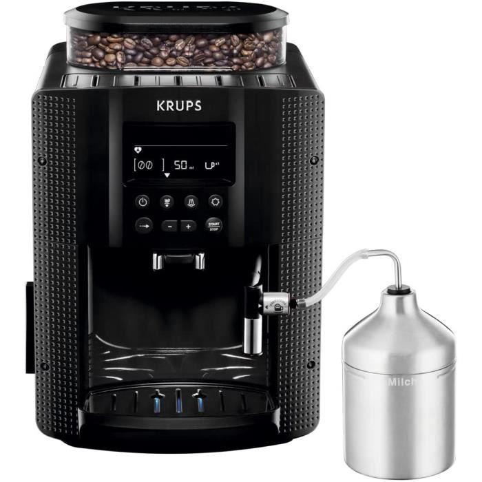 KRUPS ESSENTIAL NOIRE Machine à café à grain Machine à café broyeur grain Cafetière expresso Ecran LCD Nettoyage automatique Buse va