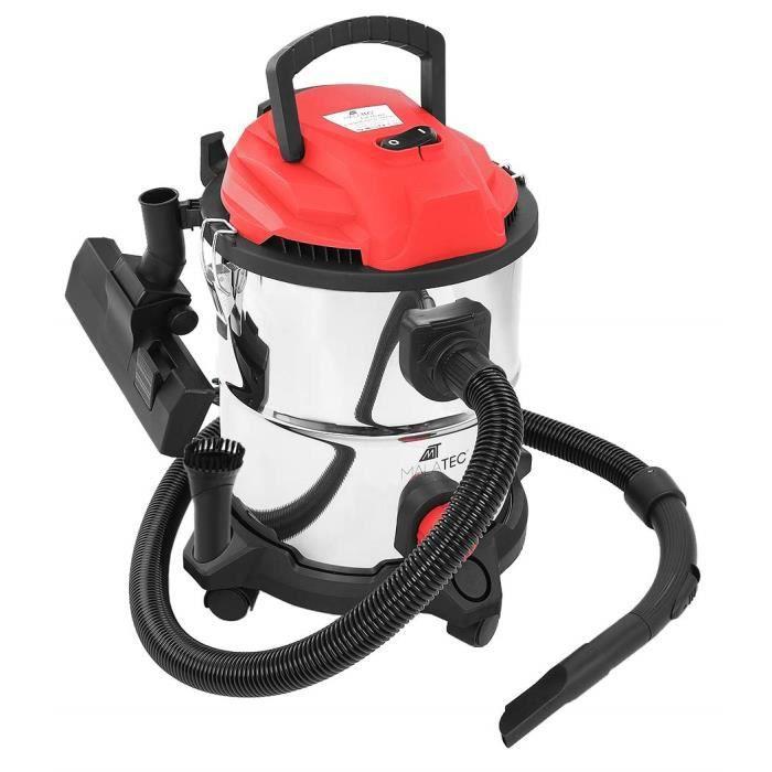 MT MALATEC 9068 Aspirateur industriel 20 l 2000 W pour eau et poussière avec 4 roues amovibles Rouge