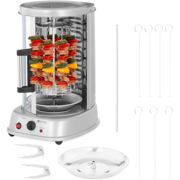 Royal Catering Rôtissoire Verticale Machine À Kébab Poulet Électrique Appareil Mini Machine Grill Rotatif RCGV-1400 (3-en-1, 1 500 W