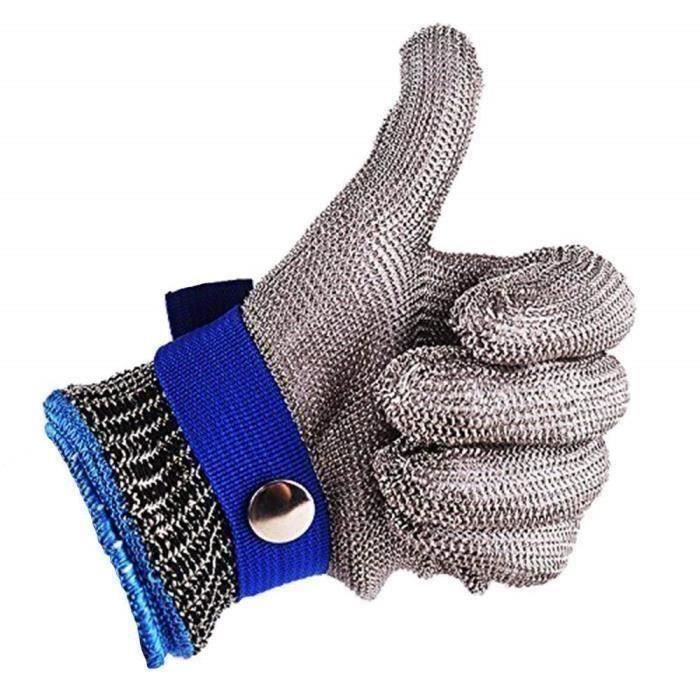 Gant de Boucher en Cotte de Maille Acier inoxydable résistant Coupe Bleu Haute Performance Niveau 5 Protection Taille S A46233