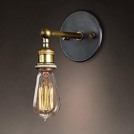 Rétro Luminaire Applique Murale Style Industriel Réglable Finition de Laiton Éclairage Vintage Edison Lampe Douille E27 Pour Grenie