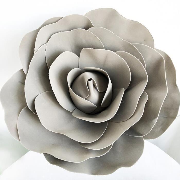Décoration florale,Grandes Roses artificielles en mousse,ensemble de mur de fleur de mariage de Style européen - Type GRIS - 60cm