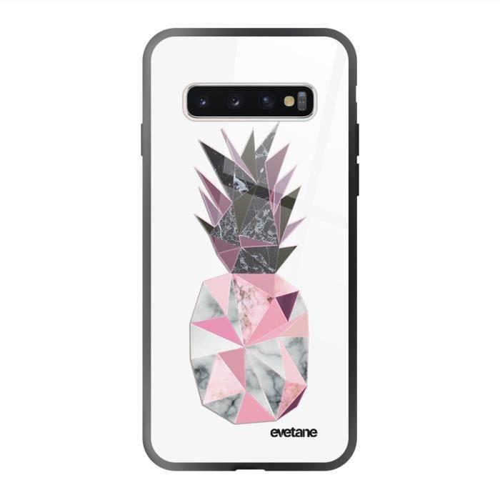 Coque en verre trempé Samsung Galaxy S10 noir Ananas geometrique marbre Ecriture Tendance et Design Evetane