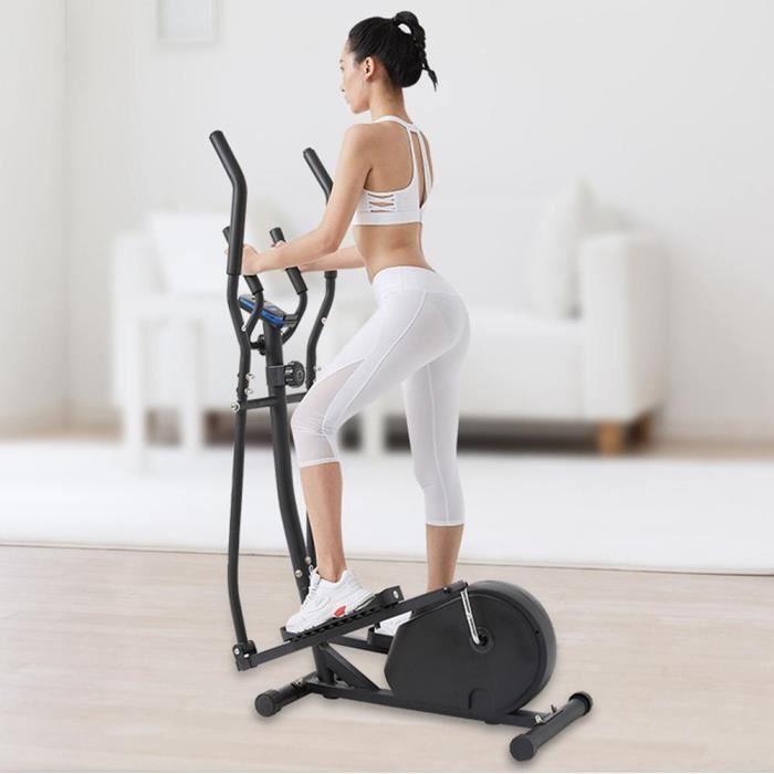 Vélo elliptique,vélo d'entraînement statique et elliptique, 2 guidons, écran LCD et moniteur de fréquence cardiaque -LIU