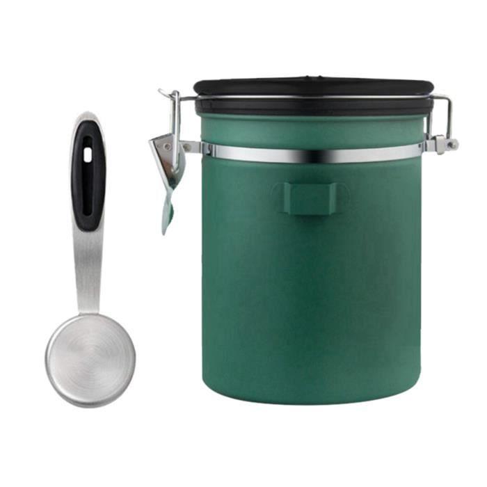 Café Thé Boîte à Sucre Cuisine Sec Alimentaire Conteneur de Stockage Pot Hermétique avec Scoop Vert 1500ml