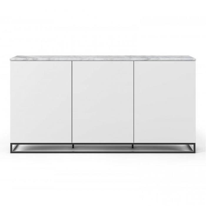 Buffet WHITY blanc mat 180cm 3 portes Plateau en Marbre blanc avec piètement noir blanc Marbre Inside75