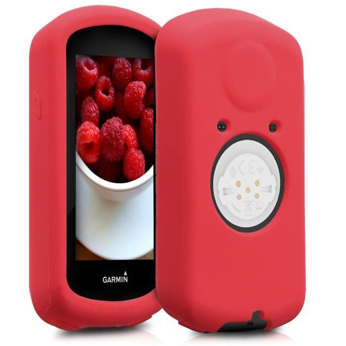 kwmobile Housse GPS vélo - Accessoire pour Garmin Edge 1030 - Protection boitier navigateur - Étui en Silicone Rouge