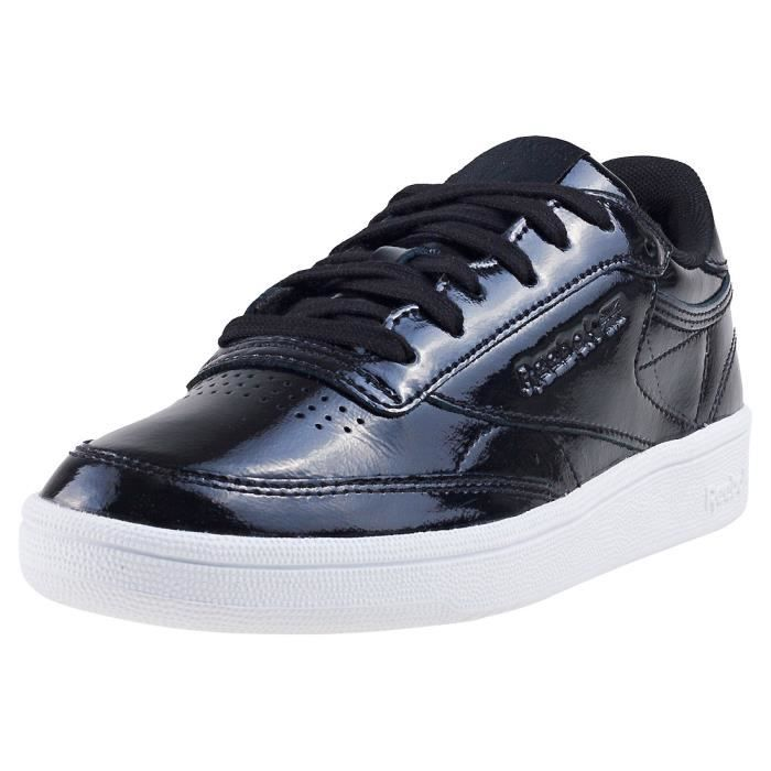 Reebok Club C 85 Patent Femmes Baskets Noir Blanc - 8 UK