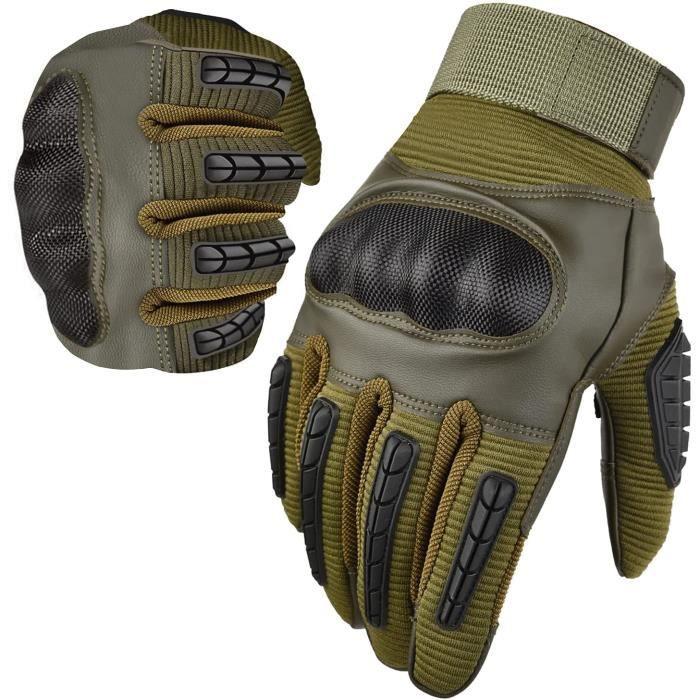 Gants de Vélo Moto Hommes Écran Tactile, Gants de Protection Plein Doigt Respirable Anti-Glissant Gants pour Motocross VTT Escalade