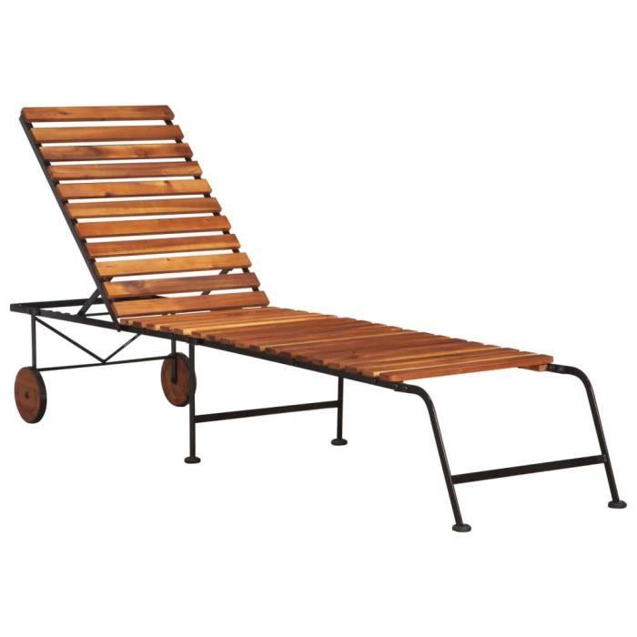 Chaise Longue de Jardin,Chaise Longue pliante,Bain de Soleil Transat avec pieds en acier Bois d'acacia massif