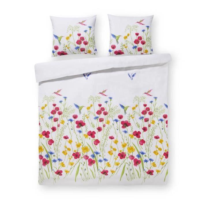 Papillon Mabel - Housse de Couette - 1-personne - 140x200/220 cm + 1 taie d'oreiller 60x70 cm - Multicolore