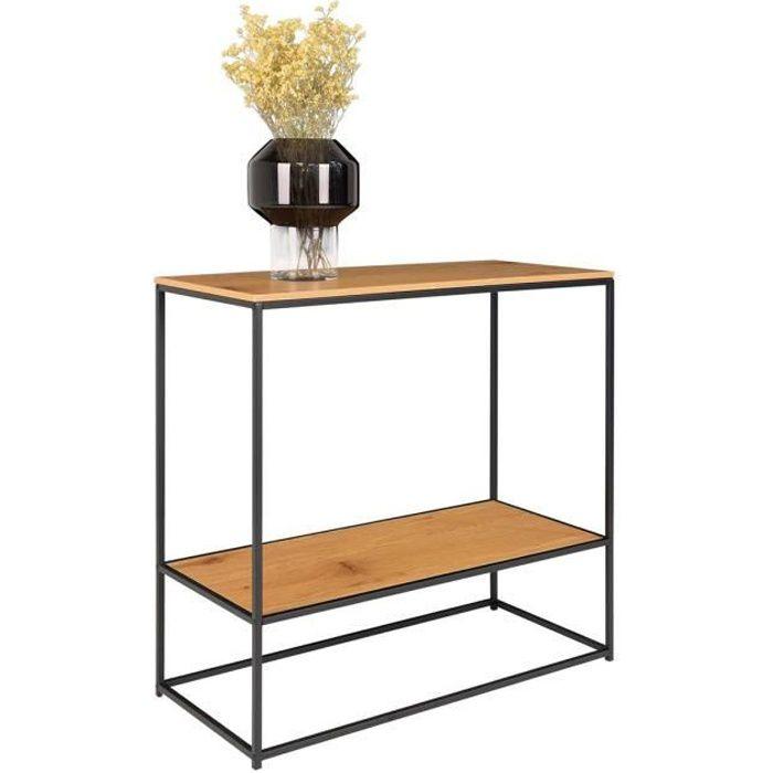 Table console coloris chêne - 36 x 80 x 80 cm