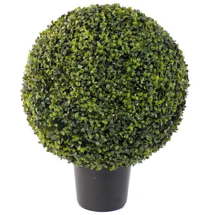 Plante artificielle haute gamme Spécial extérieur - Buis boule artificiel - Dim : H.60 x D.47 cm