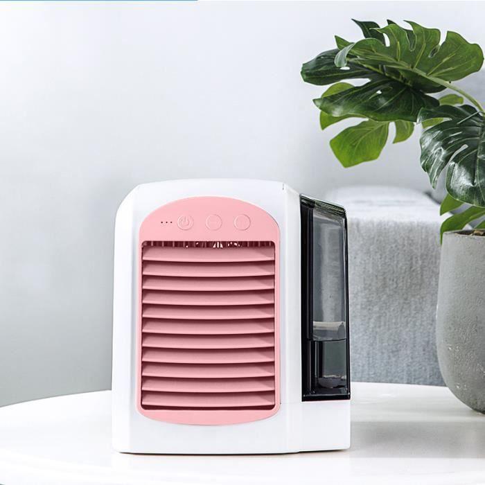 Rose -Humidificateur de purification, mini refroidisseur d'air, avec réservoir d'eau de 380 ml, 3 modes réglables, pour la maison