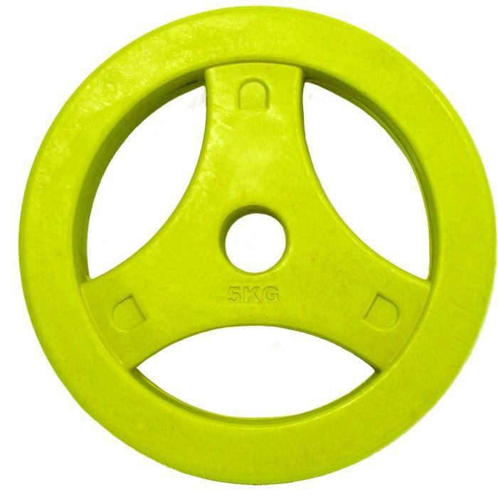 TUNTURI Disque bumper aerobic caoutchouc 5kg jaune, unité