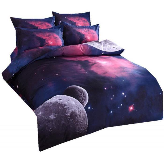 Nébuleuse Galaxie Housse de Couette avec Fermeture éclair, Garçon 'oreiller, Belle Galaxie Ensemble de Literie (Lune Rouge Galaxie)