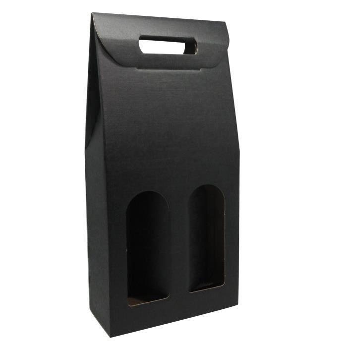 CLASSWINE Etui carton noir à fenêtre pour 2 bouteilles