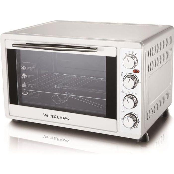 WHITE & BROWN MF 448-Mini four-45 L-2000 W-Voûte, sole ou convection-Rotissoire et chaleur tournante-Blanc