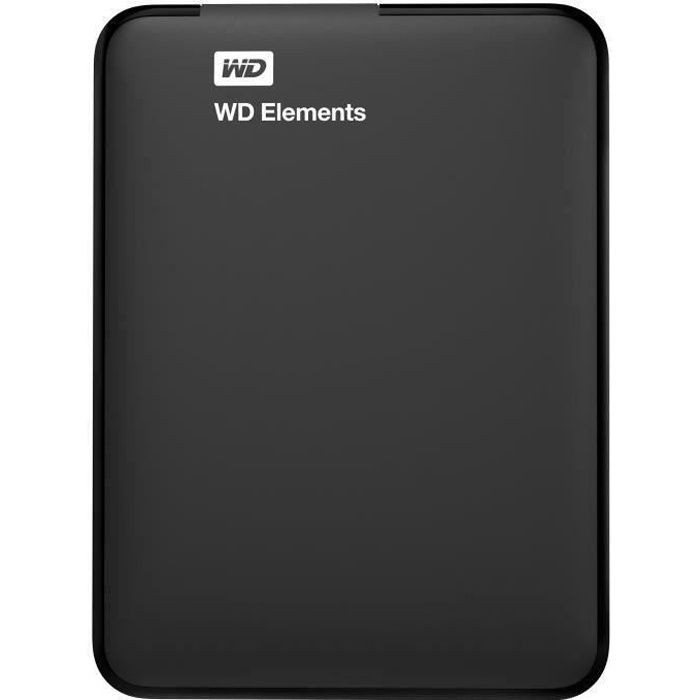 WD - Disque Dur Externe - Elements Portable - 1To - USB 3.0 (WDBUZG0010BBK-WESN)