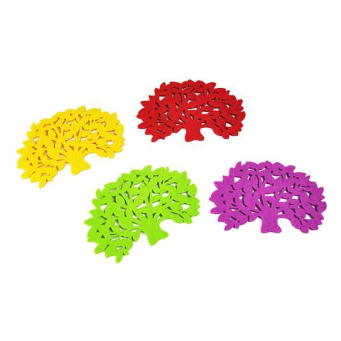 10 pièces en forme d'arbre feutre coloré bol boisson tasse assiette mats maniques tampons sous-verres (couleur COMMUTATEUR KVM