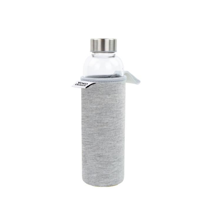 YOKO DESIGN Glass bottle avec pochette néoprène - Gris - 500 ml