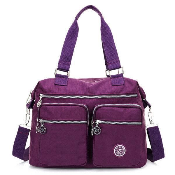 SBBKO2447Femmes Multi Front Pockets Tote Sacs à main Casual Sacs bandoulière Light Waterproof Crossbody Bags Violet