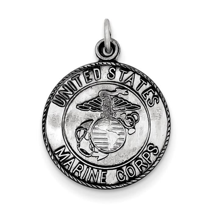Argent Sterling US Marines Corp-médaille charme