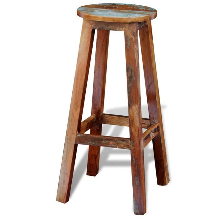 tabouret haut de bar en bois solide recycle achat vente tabouret cdiscount. Black Bedroom Furniture Sets. Home Design Ideas