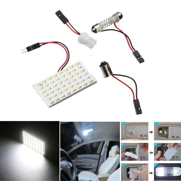 Lampe blanc int rieur voiture dome led 48 smd t10 ba9s 12v achat vente ph - Lampe interieur voiture ...