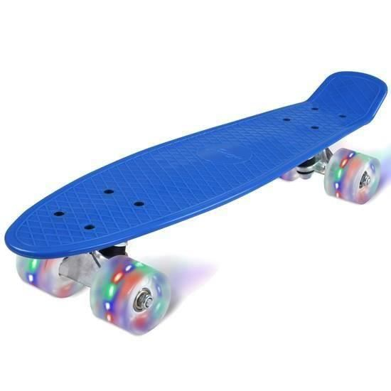 SKATEBOARD - LONGBOARD skateboard bleu ovale avec roues à led