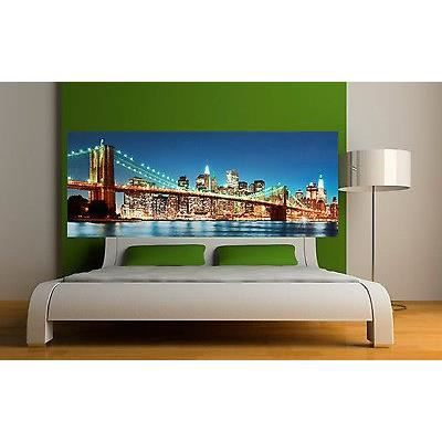 sticker t te de lit d coration murale new york pont de. Black Bedroom Furniture Sets. Home Design Ideas