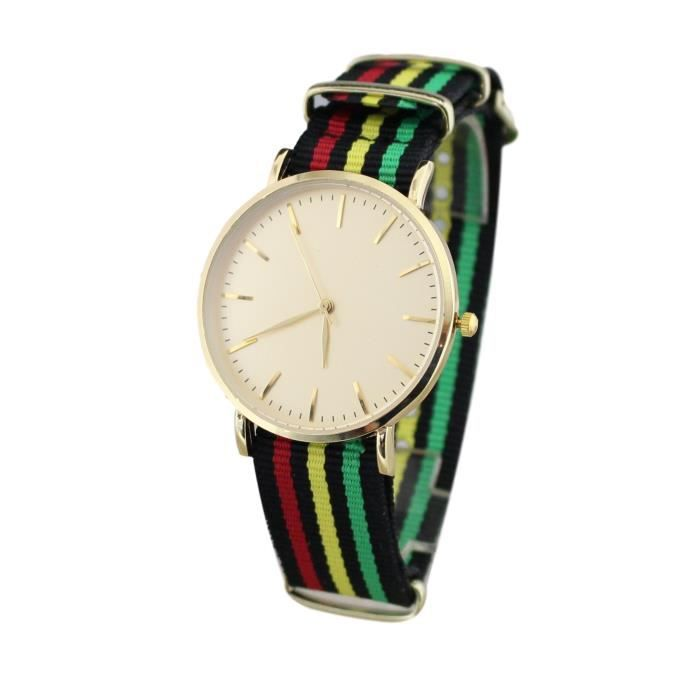 montre bracelet tissu nato rasta reggae vert jamaique achat vente pack montre montre. Black Bedroom Furniture Sets. Home Design Ideas