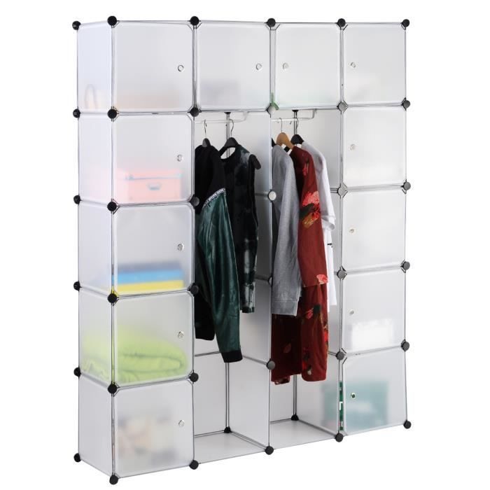 Penderie rangement 5 tag res chaussures v tement enfichable 150x37x184cm - Armoire penderie soldes ...