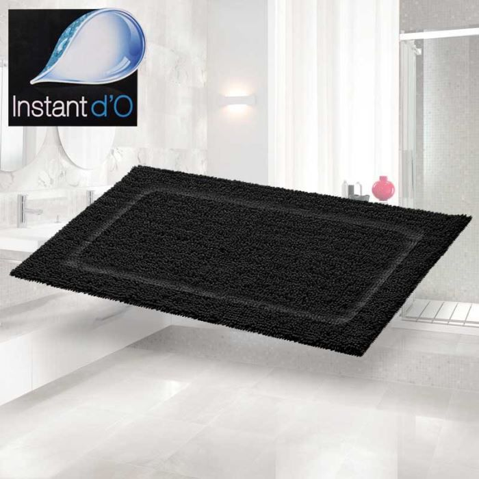 tapis de bain noir 50x70 achat vente tapis bain cdiscount. Black Bedroom Furniture Sets. Home Design Ideas