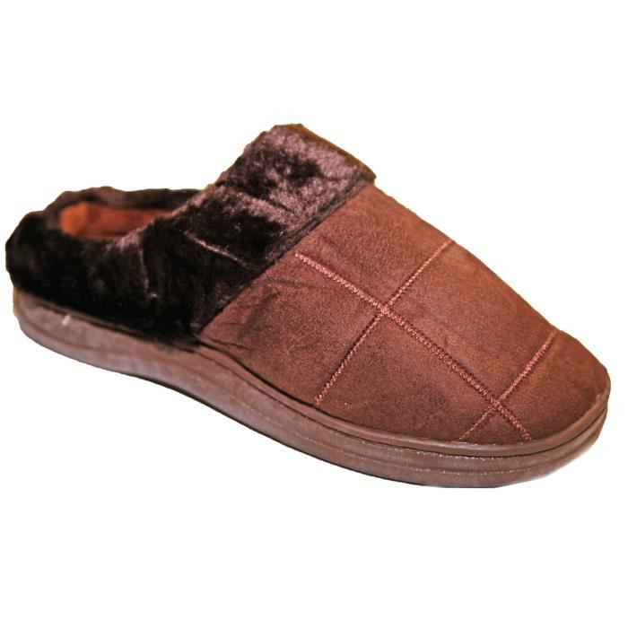 Chaussons Homme Style Charentaise Intérieur Fou... Marron - Achat ... 28fa9214f7b1