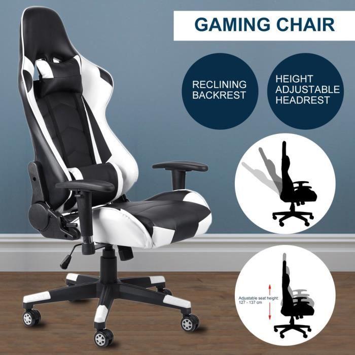 CHAISE DE BUREAU 360° rotation fauteuil gamer chaise de jeu réglabl
