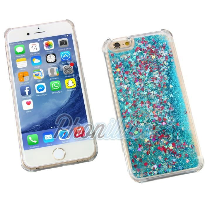 coque iphone 5c paillette liquide bleu phonillico