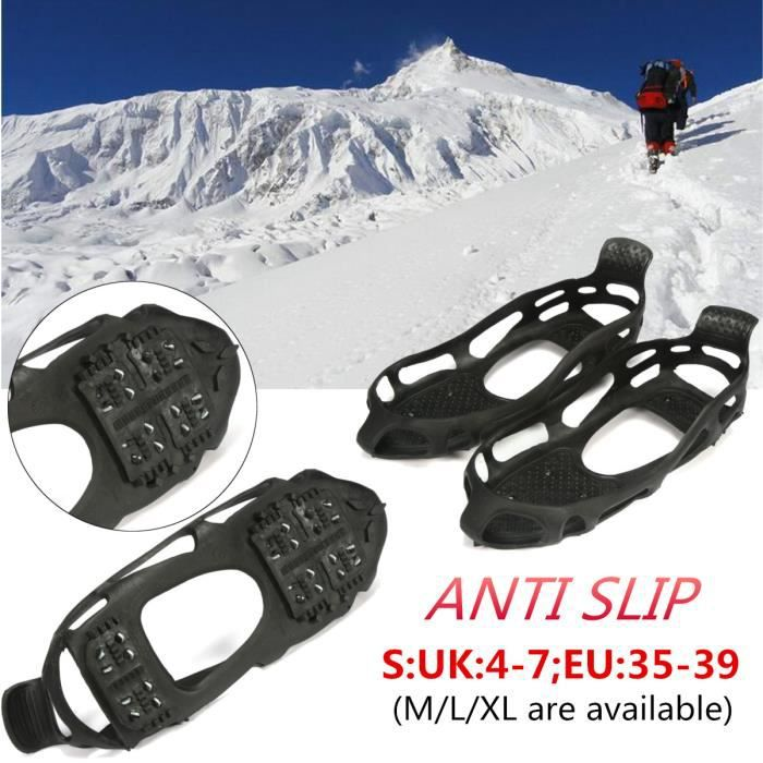 Ice Grippers Antid/érapant Pinces pour Chaussures sur Chaussure Neige Pointes