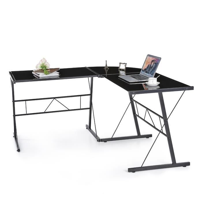 ikayaa table d 39 ordinateur de bureau moderne en forme l de coin en verre tremp achat vente. Black Bedroom Furniture Sets. Home Design Ideas