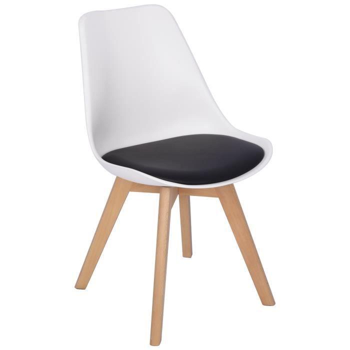 en. casa 2x Design Chaises salle à manger Noir Chaise Plastique art-cuir chaise