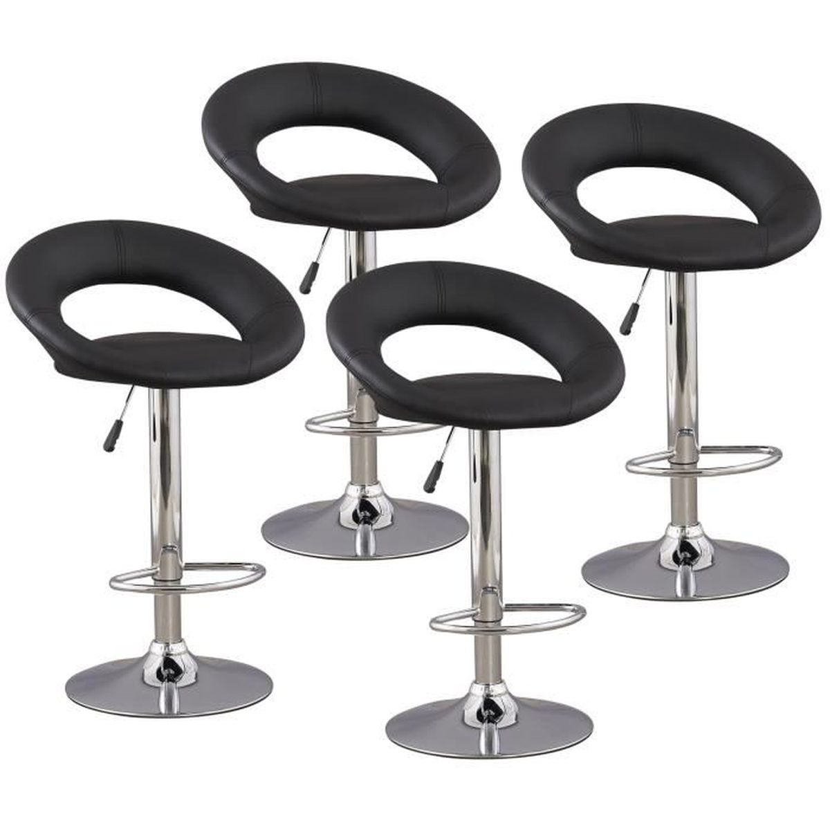 lot de 4 tabourets de bar noir elite achat vente tabouret de bar noir les soldes sur. Black Bedroom Furniture Sets. Home Design Ideas