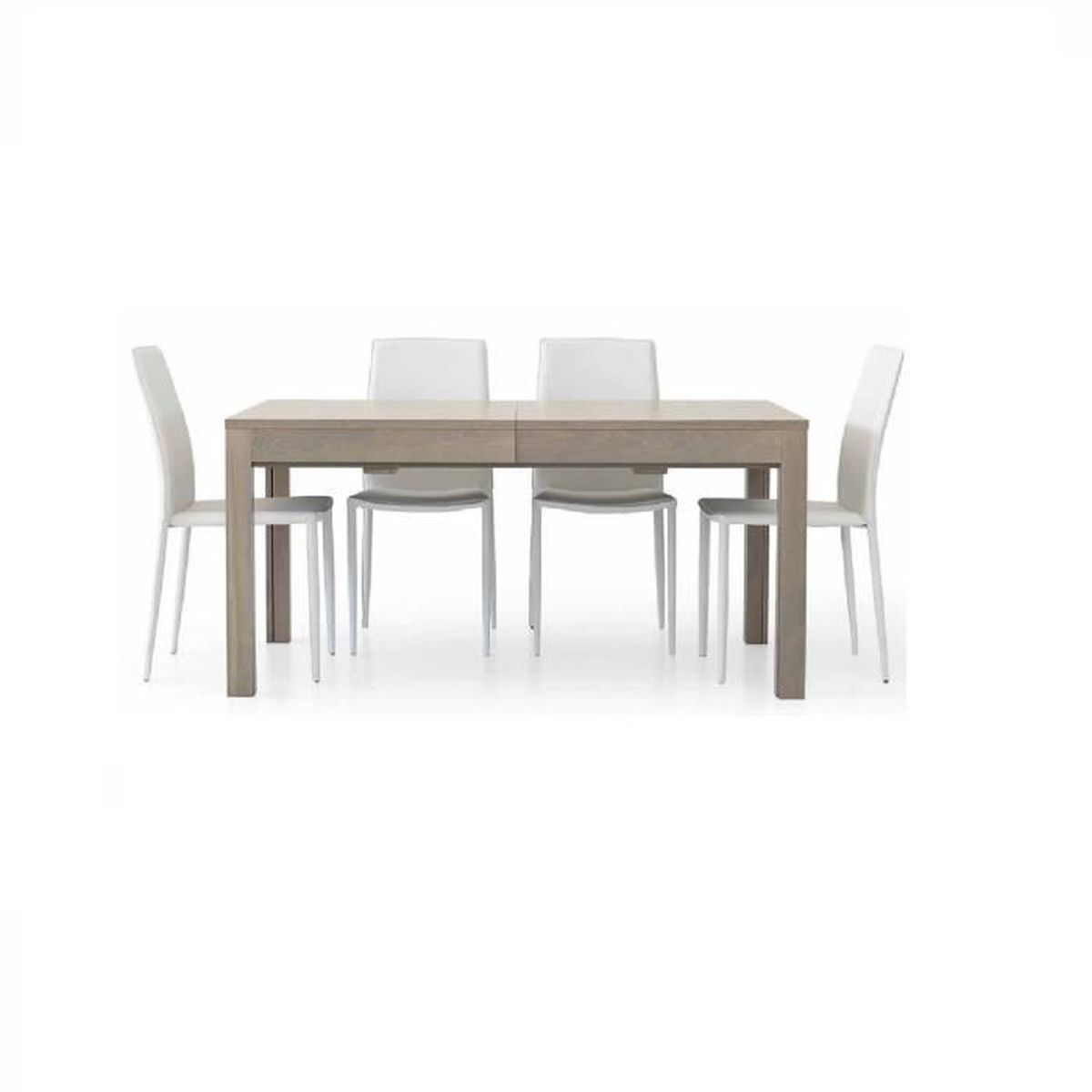 Table en ch ne gris avec 4 rallonges de 43 cm style for Table 160 cm avec rallonge