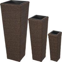 TECTAKE 3 Pots de fleurs Design en Résine Tressée - 28 cm x 28 cm x 80 cm - Intérieur ou Extérieur - Marron foncé