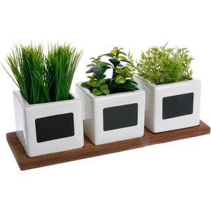 FLEUR ARTIFICIELLE Atmosphera - Lot de 3 herbes aromatiques en pot L,