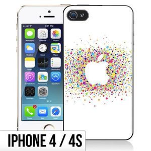 COQUE - BUMPER Coque iPhone 4-4S Logo Apple - Multicolore