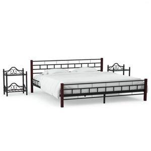 STRUCTURE DE LIT Cadre de lit Noir avec 2 tables de chevet Métal 16
